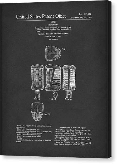 Canvas Print featuring the drawing Microphone 1959 Patent Art Black by Prior Art Design