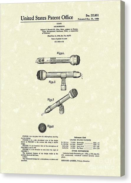 Microphones Canvas Print - Microphone 1968 Patent Art by Prior Art Design