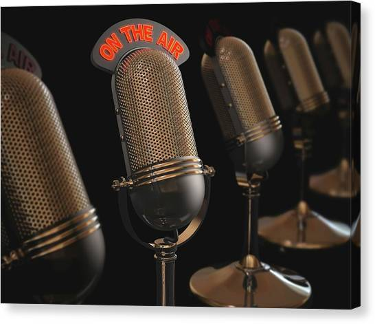 Microphones Canvas Print by Ktsdesign/science Photo Library