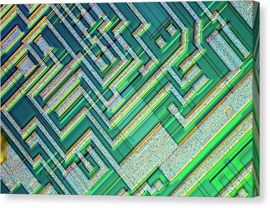 Computer Science Canvas Print - Microprocessor Chip by Alfred Pasieka