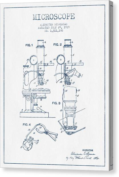 Microscope Patent Drawing From 1919 - Blue Ink Canvas Print by Aged Pixel