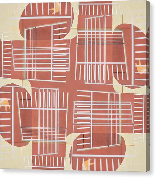 50s Canvas Print - Mid-century Design Terra-cotta by Carol Leigh