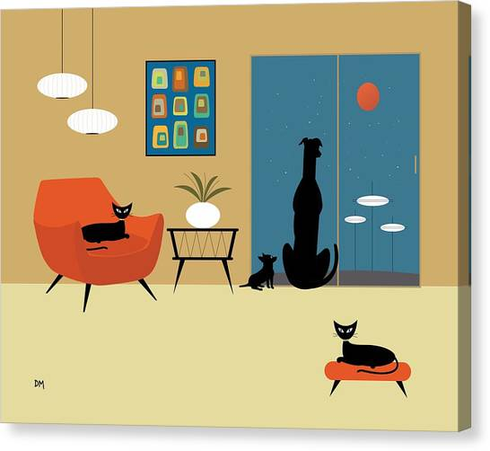 Mid Century Dogs And Cats Canvas Print