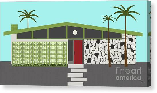 Real Estate Canvas Print - Mid Century Modern House 4 by Donna Mibus