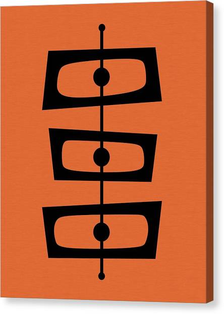 Mid Century Shapes On Orange Canvas Print