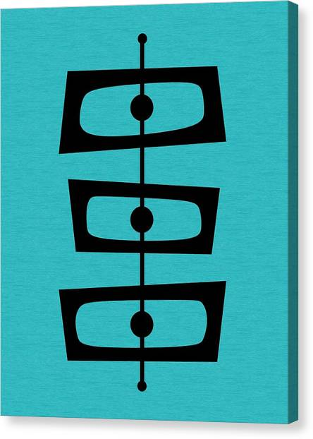 Mid Century Shapes On Turquoise Canvas Print