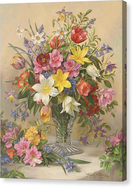 Pheasants Canvas Print - Mid Spring Glory by Albert Williams