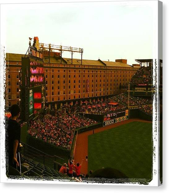 Orioles Canvas Print - Mid Week Day Baseball Orioles Park At by Bill Putnam