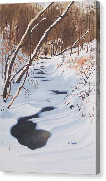 Mid Winter On The Alexauken Canvas Print