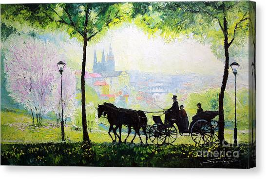 Carriage Canvas Print - Midday Walk In The Petrin Gardens Prague by Yuriy Shevchuk