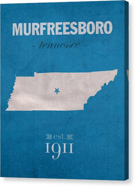 Middle Tennessee State University Canvas Print - Middle Tennessee State University Blue Raiders Murfreesboro College State Map Poster Series No 065 by Design Turnpike