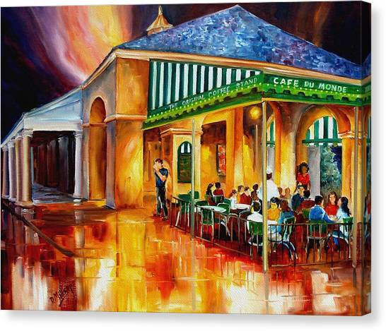 French Quarter Canvas Print - Midnight At The Cafe Du Monde by Diane Millsap