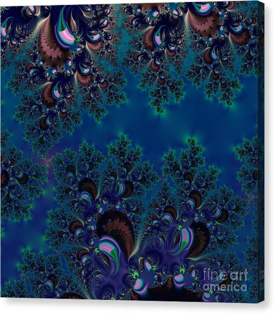 Canvas Print featuring the digital art Midnight Blue Frost Crystals Fractal by Rose Santuci-Sofranko