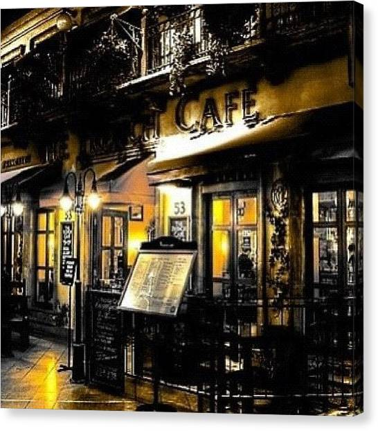 Tea Canvas Print - Midnight Cafe by Paul Coombs