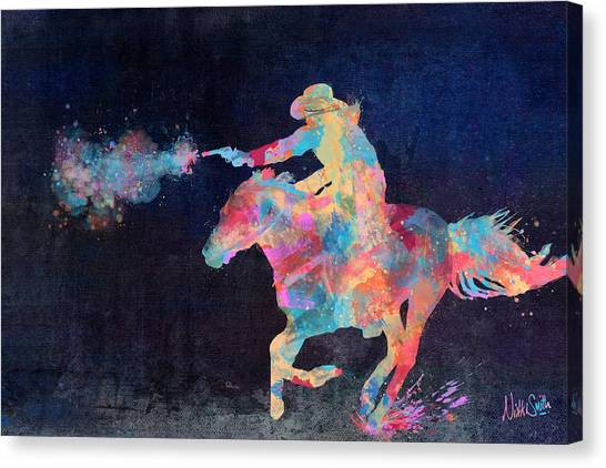 Cowboys Canvas Print - Midnight Cowgirls Ride Heaven Help The Fool Who Did Her Wrong by Nikki Marie Smith
