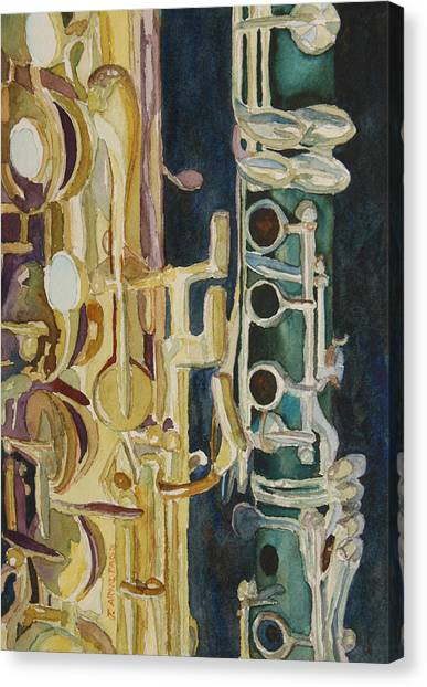 Clarinets Canvas Print - Midnight Duet by Jenny Armitage