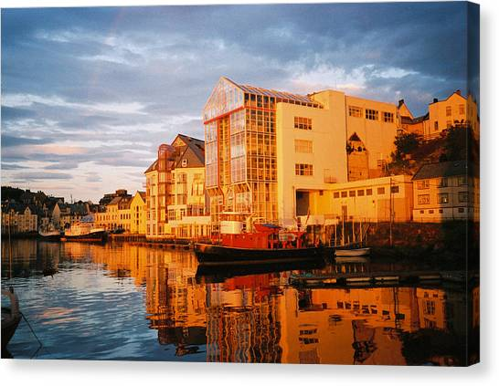Canvas Print - Midnight In Alesund Norway by Christine Rivers