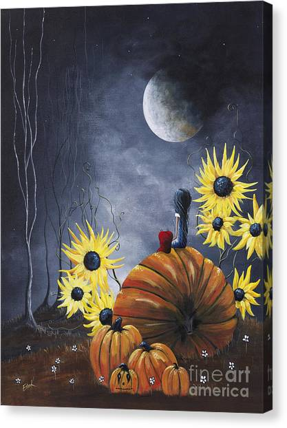 Pumpkin Patch Canvas Print - Midnight In The Pumpkin Patch By Shawna Erback by Artisan Parlour