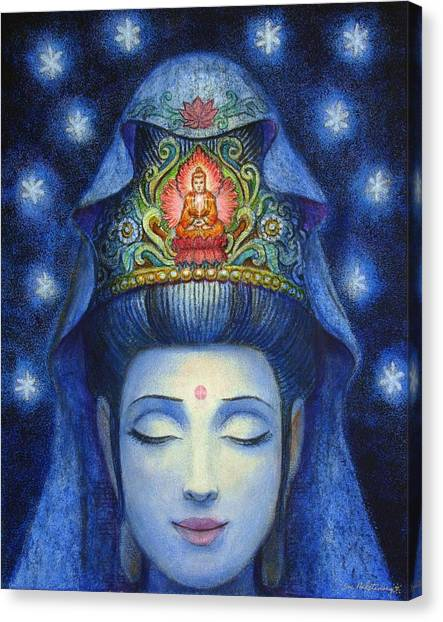 Buddha Canvas Print - Midnight Meditation Kuan Yin by Sue Halstenberg