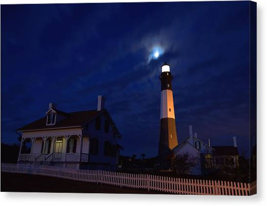 Midnight Moon Over Tybee Island Canvas Print
