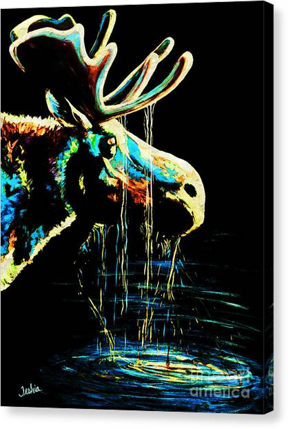 Large Mammals Canvas Print - Midnight Moose Drool  by Teshia Art