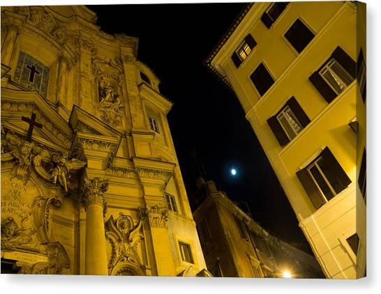 Midnite Canvas Print - Midnight Roman Facades In Yellow  by Georgia Mizuleva