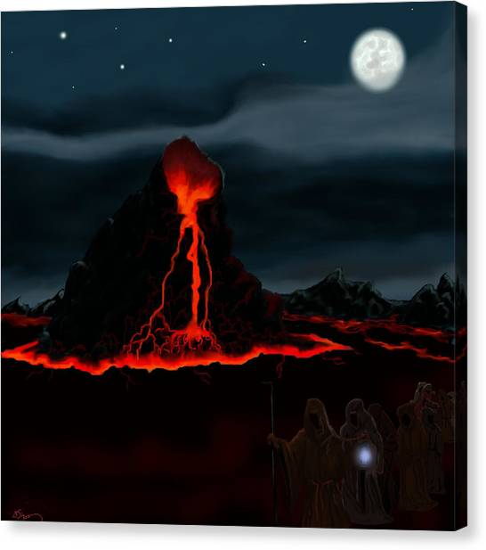 Midnight Volcano Canvas Print by Brad Simpson