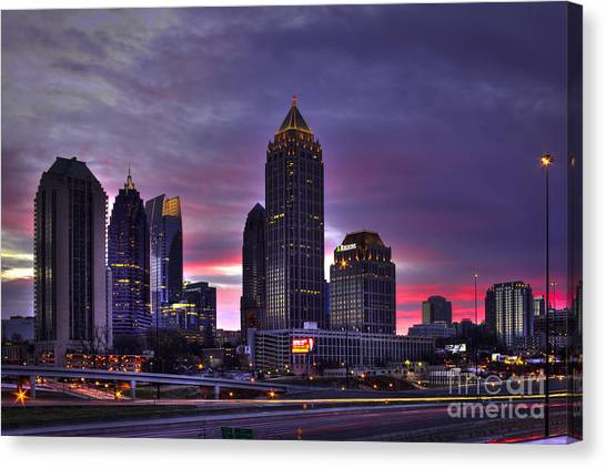 Emory University Canvas Print - Midtown Atlanta Winter Sunrise by Reid Callaway