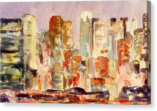 Earth Canvas Print - Midtown Manhattan Skyline At Dusk Watercolor Painting Of Nyc by Beverly Brown