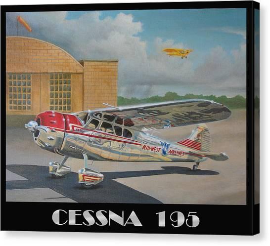 Cessnas Canvas Print - Midwest Airlines Cessna 195 by Stuart Swartz