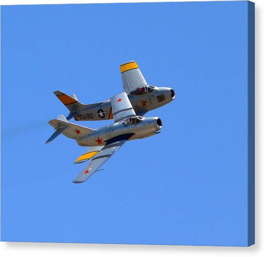 Canvas Print featuring the photograph Mig 15 And F86 Sabre by Jeff Lowe