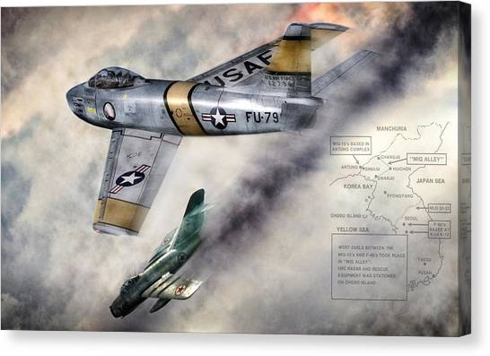 Cold War Canvas Print - Mig Alley by Peter Chilelli