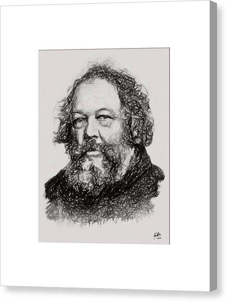Libertarian Canvas Print - Mijail Bakunin  by Joaquin Abella