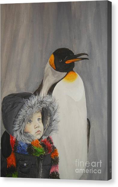 Mika And Penguin Canvas Print
