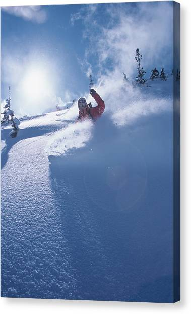 Uinta Canvas Print - Mike Carving Fresh Snow In Big by Howie Garber