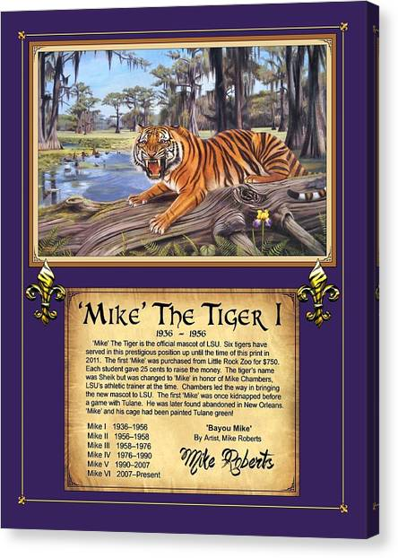 Louisiana State University Lsu Canvas Print - Mike The Tiger I by Mike Roberts