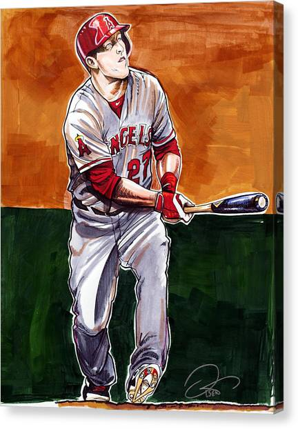 Los Angeles Angels Canvas Print - Mike Trout by Dave Olsen