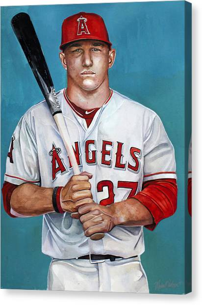 Los Angeles Angels Canvas Print - Mike Trout - La Angels Of Anaheim by Michael  Pattison