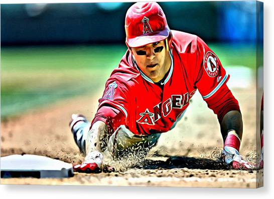 Los Angeles Angels Canvas Print - Mike Trout Painting by Florian Rodarte