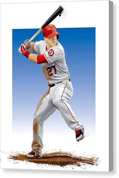 Los Angeles Angels Canvas Print - Mike Trout by Scott Weigner