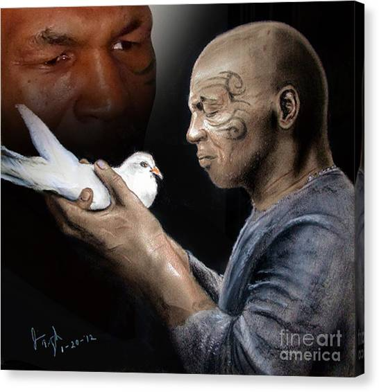 Mike Tyson Canvas Print - Mike Tyson And Pigeon II by Jim Fitzpatrick