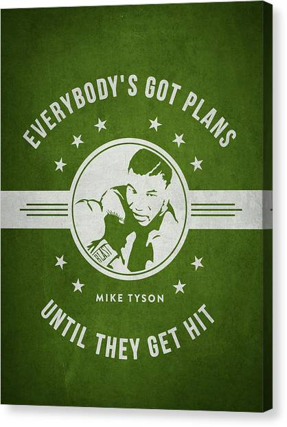 Mike Tyson Canvas Print - Mike Tyson - Green by Aged Pixel