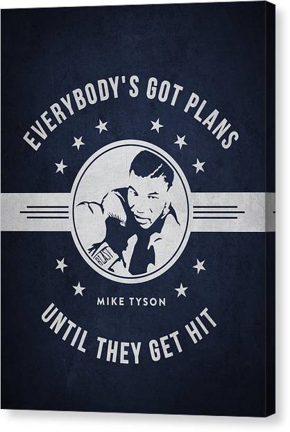 Mike Tyson Canvas Print - Mike Tyson - Navy Blue by Aged Pixel