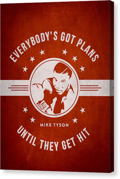 Mike Tyson Canvas Print - Mike Tyson - Red by Aged Pixel