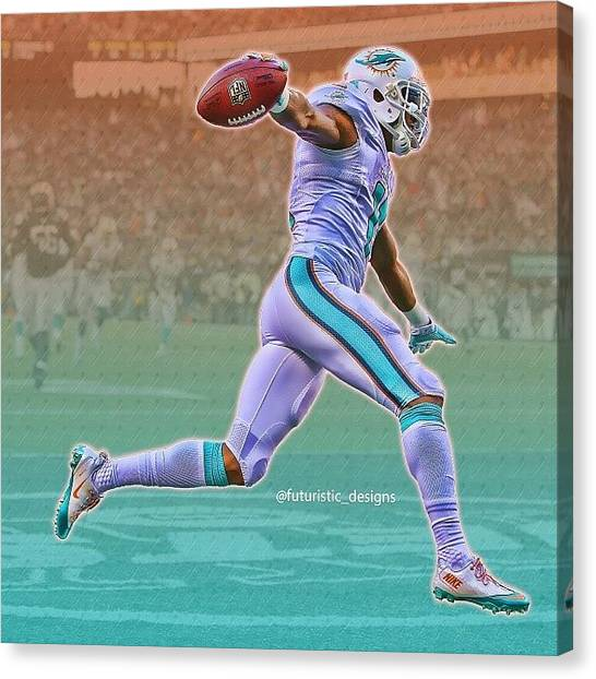 Miami Dolphins Canvas Print - #mikewallace #miami #dolphins #nfl by Futuristic Designs
