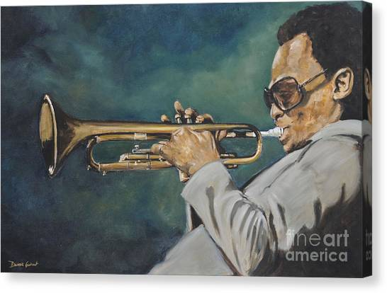 Canvas Print featuring the painting Miles Davis - Solo by Dwayne Glapion