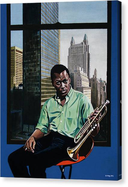 Miles High - Miles Davis Canvas Print by Jo King