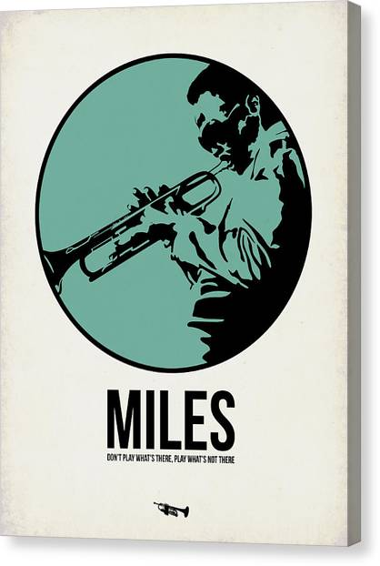 Jazz Canvas Print - Miles Poster 1 by Naxart Studio
