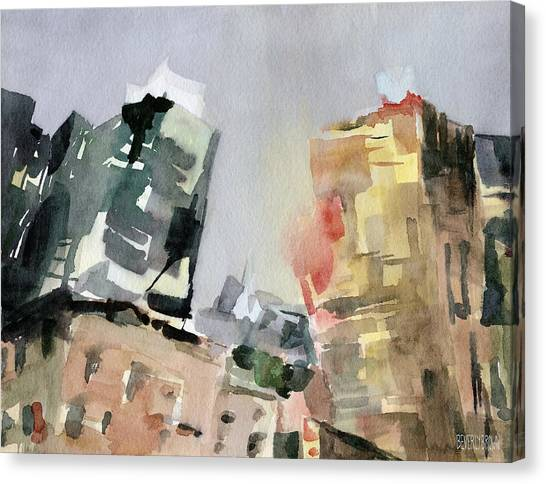 Tone Canvas Print - Milford Plaza 8th Avenue Watercolor Painting Of New York by Beverly Brown Prints