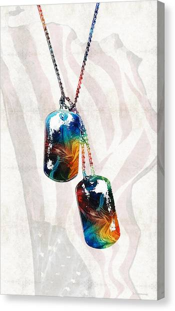 Democratic Canvas Print - Military Art Dog Tags - Honor - By Sharon Cummings by Sharon Cummings